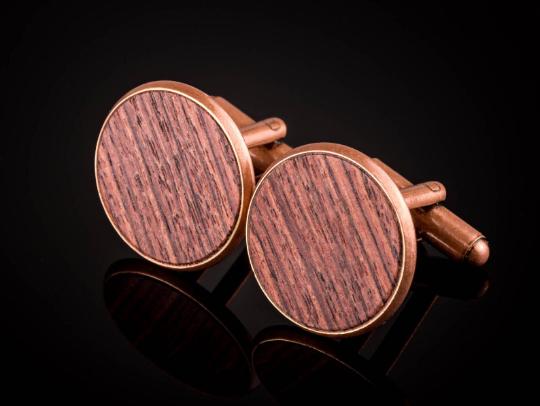 Manschettenknöpfe mit Königsholz Holz Cufflinks Kupfer