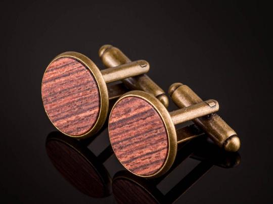 Manschettenknöpfe mit Königsholz Holz Cufflinks Bronze