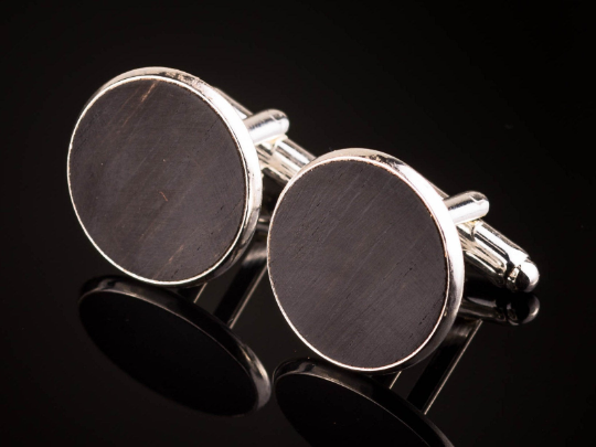 Manschettenknöpfe mit Ebenholz Holz Cufflinks Silber