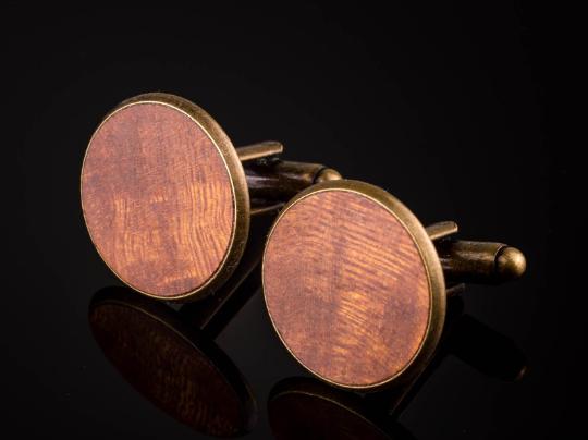 Bronzefarben Vollholz Manschettenknöpfe