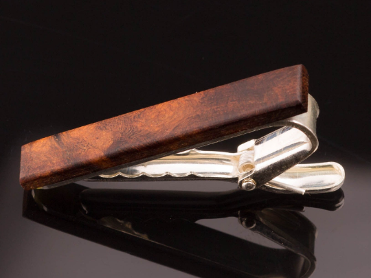 Krawattenklammer Silber mit Holz Wüsteneisenholz klein