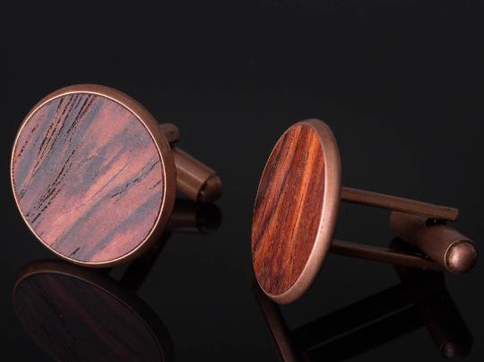 Manschettenknöpfe mit Cocobolo Holz Cufflinks Kupferfarben