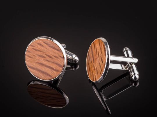 Manschettenknöpfe mit Steineiche Holz Cufflinks Silber