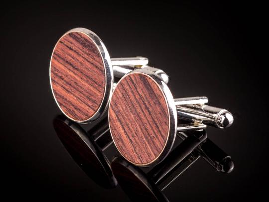 Manschettenknöpfe mit Königsholz Holz Cufflinks Silber